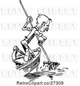 Vector Clip Art of Retro Old Guy in a Boat by Prawny Vintage