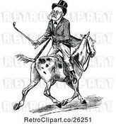 Vector Clip Art of Retro Old Guy Riding Backwards on a Horse by Prawny Vintage