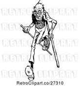 Vector Clip Art of Retro Old Guy Running with Canes by Prawny Vintage