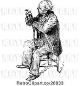 Vector Clip Art of Retro Old Guy Sitting and Pointing by Prawny Vintage