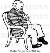 Vector Clip Art of Retro Old Guy Sleeping in a Chair by Prawny Vintage