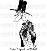 Vector Clip Art of Retro Old Guy with a Top Hat by Prawny Vintage