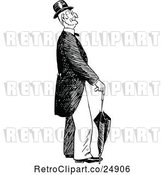 Vector Clip Art of Retro Old Guy with an Umbrella by Prawny Vintage