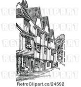 Vector Clip Art of Retro Old Houses on Silver Street in Cambridge Uk by Prawny Vintage