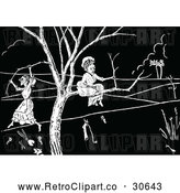 Vector Clip Art of Retro Old Ladies Stuck in a Tree by Prawny Vintage