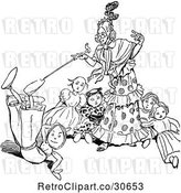 Vector Clip Art of Retro Old Lady and Dolls by Prawny Vintage