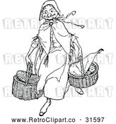 Vector Clip Art of Retro Old Lady Carying Baskets by Prawny Vintage