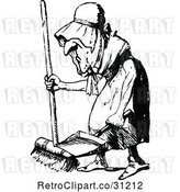 Vector Clip Art of Retro Old Lady Sweeping by Prawny Vintage