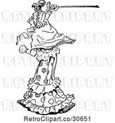 Vector Clip Art of Retro Old Lady Waving Her Cane by Prawny Vintage