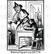 Vector Clip Art of Retro Old Lady with a Cat Making a Pie by Prawny Vintage
