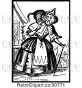 Vector Clip Art of Retro Old Lady with a Cat on Her Shoulders by Prawny Vintage