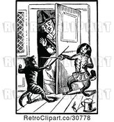 Vector Clip Art of Retro Old Lady with Fencing Cats by Prawny Vintage
