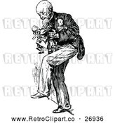 Vector Clip Art of Retro Old Man Carrying Dolls by Prawny Vintage