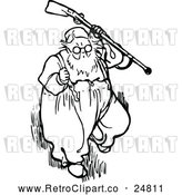 Vector Clip Art of Retro Old Man with a Gun by Prawny Vintage