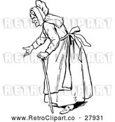 Vector Clip Art of Retro Old Woman Gesturing by Prawny Vintage