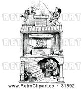 Vector Clip Art of Retro Old Woman Roasting Chickens with Men on the Roof by Prawny Vintage