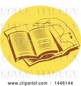 Vector Clip Art of Retro Open Book on Top of a Tail Map in an Oval by Patrimonio