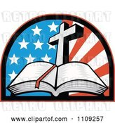 Vector Clip Art of Retro Open Holy Bible with a Cross over an American Flag Arch by Patrimonio