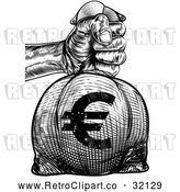Vector Clip Art of Retro or Woodcut Styled Hand Holding out a Burlap Euro Money Bag Sack to Pay Taxes by AtStockIllustration