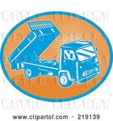 Vector Clip Art of Retro Orange and Blue Dump Truck Logo by Patrimonio
