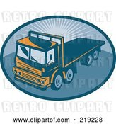 Vector Clip Art of Retro Orange and Blue Flatbed Big Rig Logo by Patrimonio