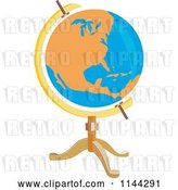 Vector Clip Art of Retro Orange and Blue Globe on a Stand by Patrimonio