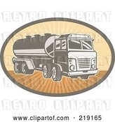 Vector Clip Art of Retro Orange and Brown Cement Truck Logo by Patrimonio