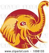 Vector Clip Art of Retro Orange and Red Elephant with a Raised Trunk by Patrimonio