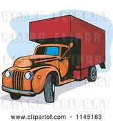 Vector Clip Art of Retro Orange and Red Moving Van by Patrimonio