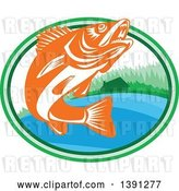 Vector Clip Art of Retro Orange and White Walleye Fish Jumping in an Oval with a Lake Front Cabin by Patrimonio