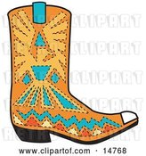 Vector Clip Art of Retro Orange Aztec Style Cowboy Boot with Blue and Yellow Accents Around a Bird by Andy Nortnik