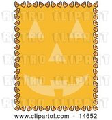 Vector Clip Art of Retro Orange Background with a Jack O Lantern Face and a Border of Candy Corn by Andy Nortnik