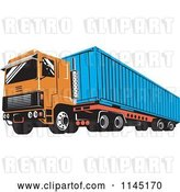 Vector Clip Art of Retro Orange Big Rig Truck by Patrimonio