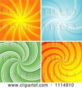 Vector Clip Art of Retro Orange Blue and Green Swirl Backgrounds by Dero