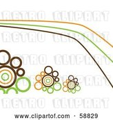 Vector Clip Art of Retro Orange, Brown and Green Lines and Circles on White by Kaycee