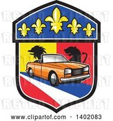 Vector Clip Art of Retro Orange Cabriolet Convertible Coupe Car French Coat of Arms Crest by Patrimonio