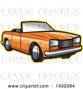 Vector Clip Art of Retro Orange Cabriolet Convertible Coupe Car with a Yellow Outline by Patrimonio