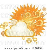 Vector Clip Art of Retro Orange Cloud Circle Floral and Burst Frame by Amanda Kate