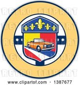 Vector Clip Art of Retro Orange Convertible Coupe Car in a French Coat of Arms with Fleur De Lis Flowers in a Circle by Patrimonio