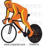 Vector Clip Art of Retro Orange Cyclst Racing a Bicycle by Patrimonio