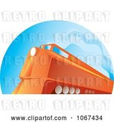 Vector Clip Art of Retro Orange Diesel Train by Patrimonio