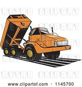 Vector Clip Art of Retro Orange Dump Truck by Patrimonio