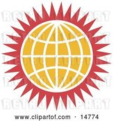 Vector Clip Art of Retro Orange Globe with White Lines and Red Spikes by Andy Nortnik