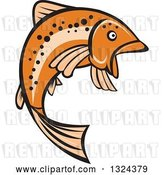 Vector Clip Art of Retro Orange Leaping Rainbow Trout Fish by Patrimonio