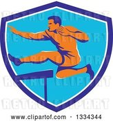 Vector Clip Art of Retro Orange Male Track and Field Athlete Running and Leaping Hurdles in a Blue and White Shield by Patrimonio