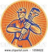 Vector Clip Art of Retro Orange Plumber and Wrench Logo by Patrimonio