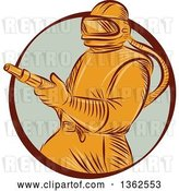 Vector Clip Art of Retro Orange Sandblaster Worker in a Brown and Pastel Green Circle by Patrimonio