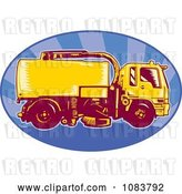 Vector Clip Art of Retro Orange Street Cleaner Machine and Blue Ray Oval by Patrimonio
