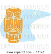 Vector Clip Art of Retro Orange Tiki Carving in Style, over Blue with Stars by Xunantunich