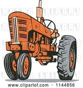 Vector Clip Art of Retro Orange Tractor 1 by Patrimonio